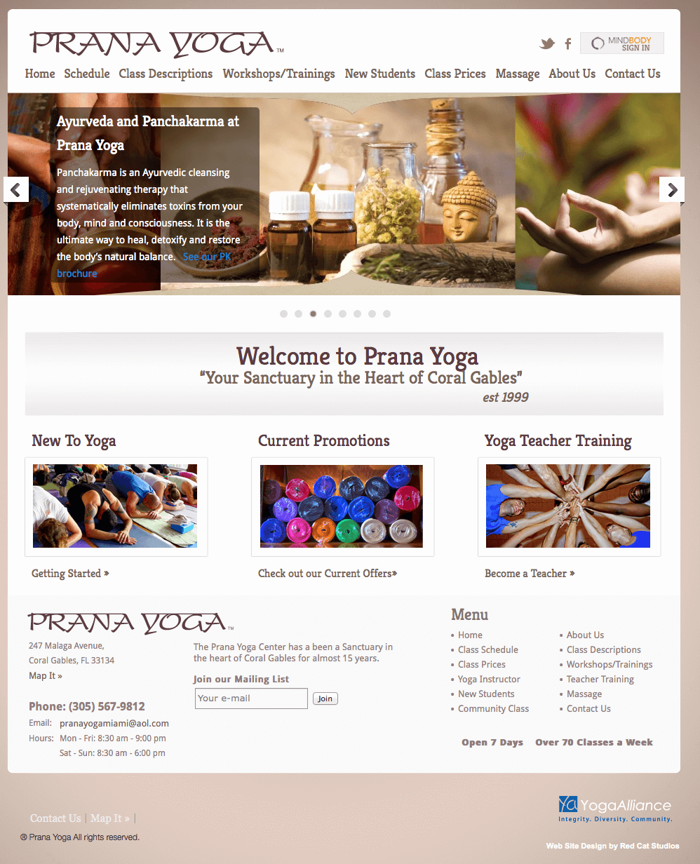 Fitness Web Site Design MindBody Integration Yoga Studio Heal Code Web Site Design MindBody Custom Web Design WordPress
