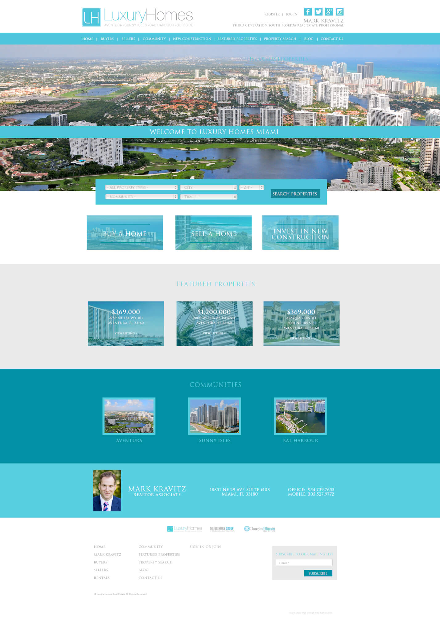 Real Estate IDX web site design Miami Mark Kravitz Realto