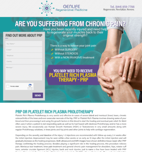 Platelet Rich Plasma Prolotherapy – Landing Page